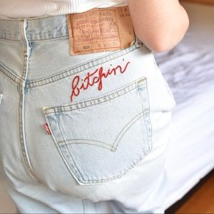 'Bitchin' Hand Embroidered Vintage Levi's Jeans